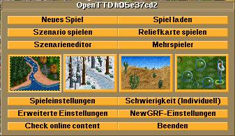 OpenTTD start menu
